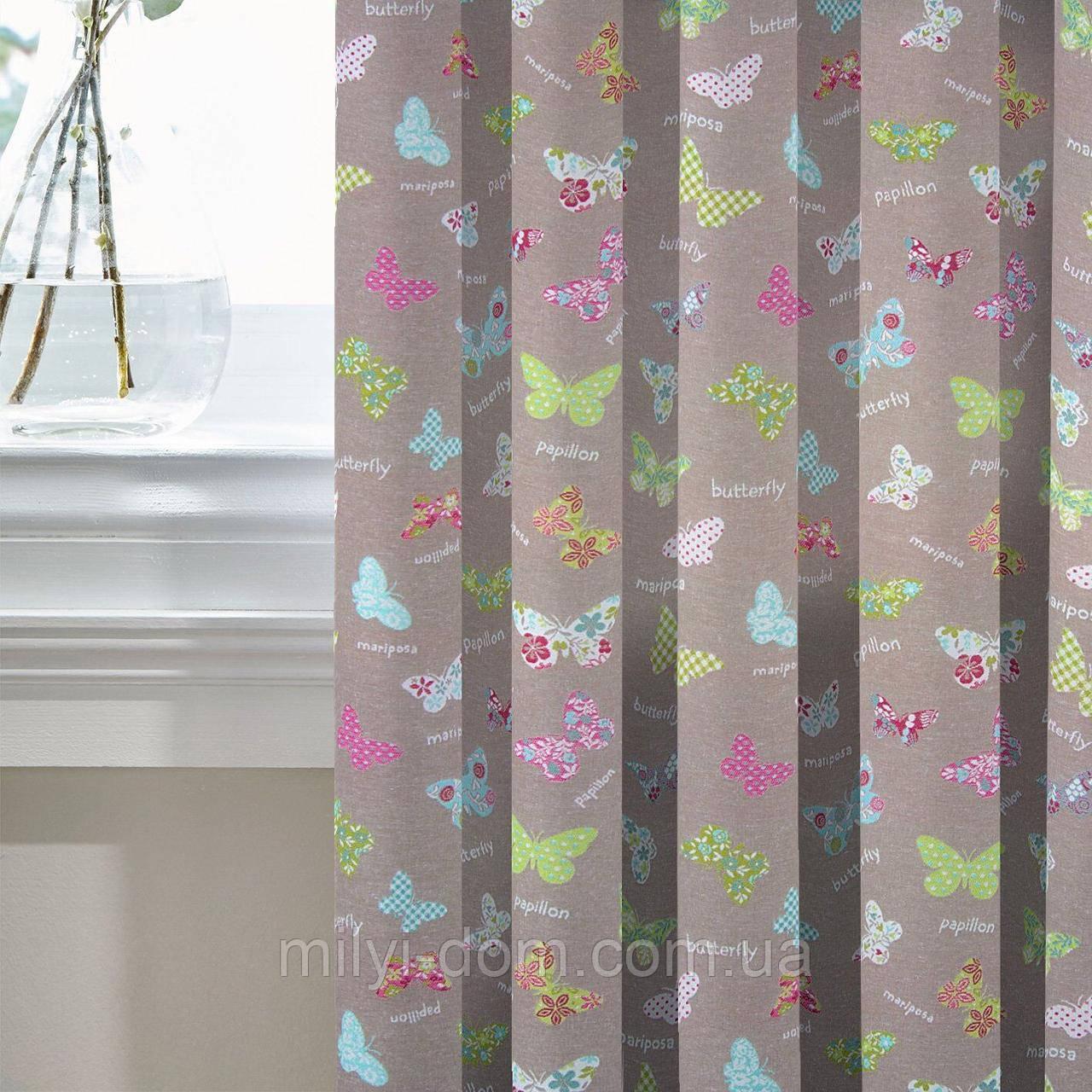Комплект Штор в детскую Жаккард Испания БАТТЕРФЛЯЙ Розовый, арт. MG-121971, 275*145 см