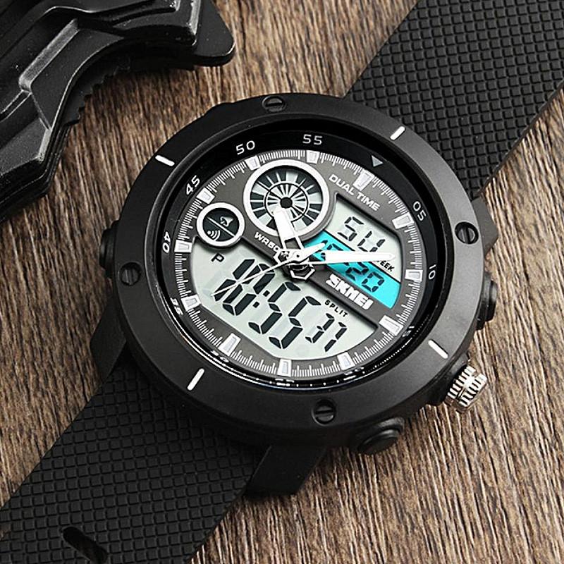 Skmei 1361 черные мужские спортивные часы