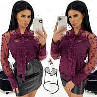 Блуза двійка в горох (4 кольори) АА/-1320 - Бордовий, фото 1