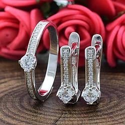 Серебряный набор Винтажное очарование кольцо размер 18 + серьги 13х5 мм вставка белые фианиты