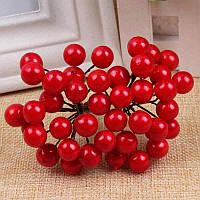 ОПТ Калина лаковая для рукоделия  Ø7-8мм, 500 ягодок Цвет - Красный