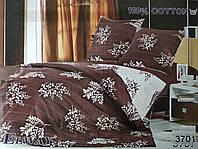 Сатиновое постельное белье евро ELWAY 3701 «Листочки»