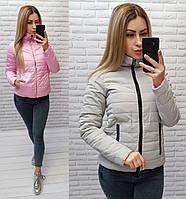 Куртка двухсторонняя весна-осень серо-розовая M555