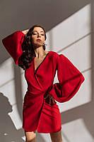 Шикарне витончене плаття костюмний креп З квадратним вирізом і рукавами ліхтарики, глибоким вирізом на запах, фото 1