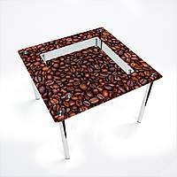 Стол обеденный на хромированных ножках Квадратный с полкой Coffee aroma