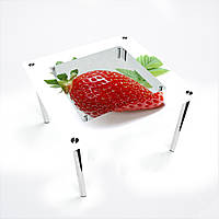Стол обеденный на хромированных ножках Квадратный с полкой Sweet berry
