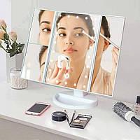 Зеркало для макияжа с LED подсветкой прямоугольное тройное,белое