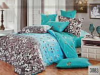 Сатиновое постельное белье евро ELWAY 3883 «Полевые цветы»