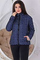 Женская демисезонная двухсторонняя куртка, арт.555, цвет белый + синий с якорями