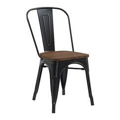 Стілець барний Толікс Вуд, метал, матовий чорний, сидіння дерево