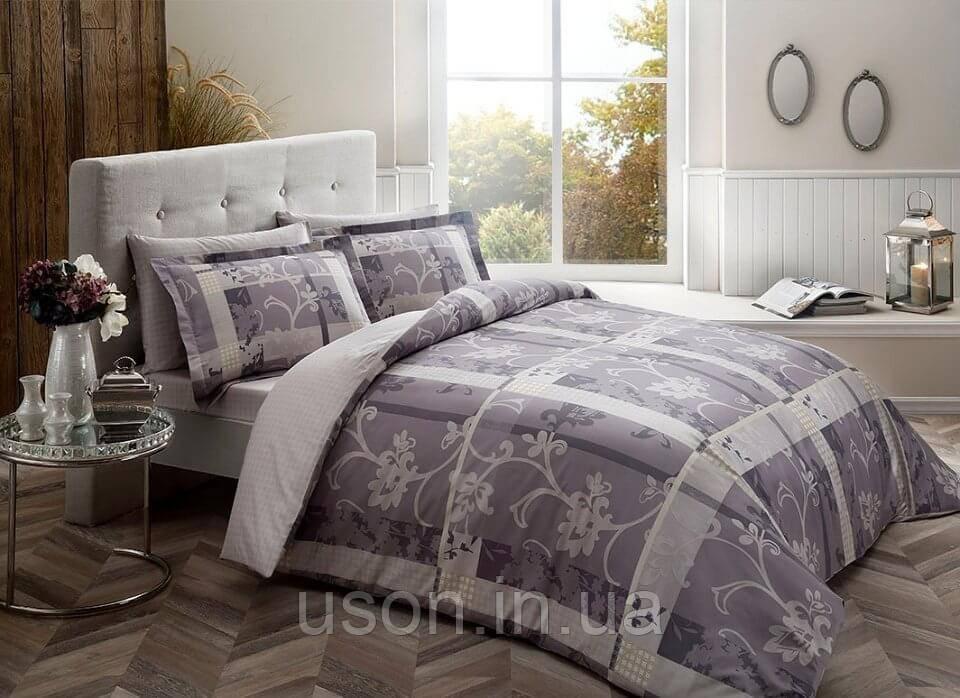 Комплект постельного белья размер king size Tac Madre Grey  Сатин-Delux