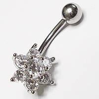 """Для пирсинга пупка """"Алмазный цветок"""". Медицинская сталь. Вставки: прозрачный циркон., фото 1"""