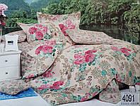 Сатиновое постельное белье евро ELWAY 4091 «Пионы»