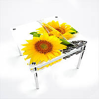 Стол обеденный на хромированных ножках Квадратный с проходящей полкойSunflower