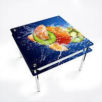Стол обеденный на хромированных ножках Квадратный с проходящей полкойSweet Mix