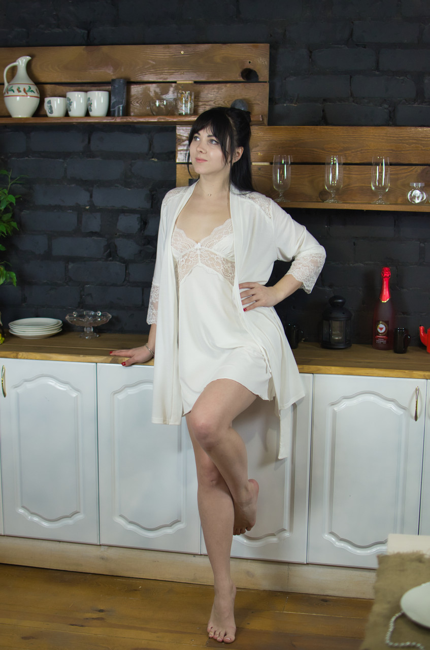 Сорочка з мереживом Serenade шампань
