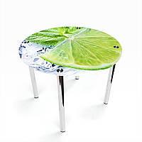 Стол обеденный на хромированных ножках Круглый Ice lime