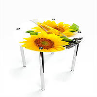 Стол обеденный на хромированных ножках Круглый Sunflower