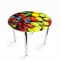 Стол обеденный на хромированных ножках Круглый Wood berry