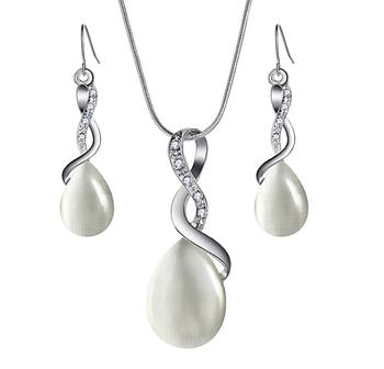 Комплект біжутерії сережки з підвіскою Primo Opal - Silver