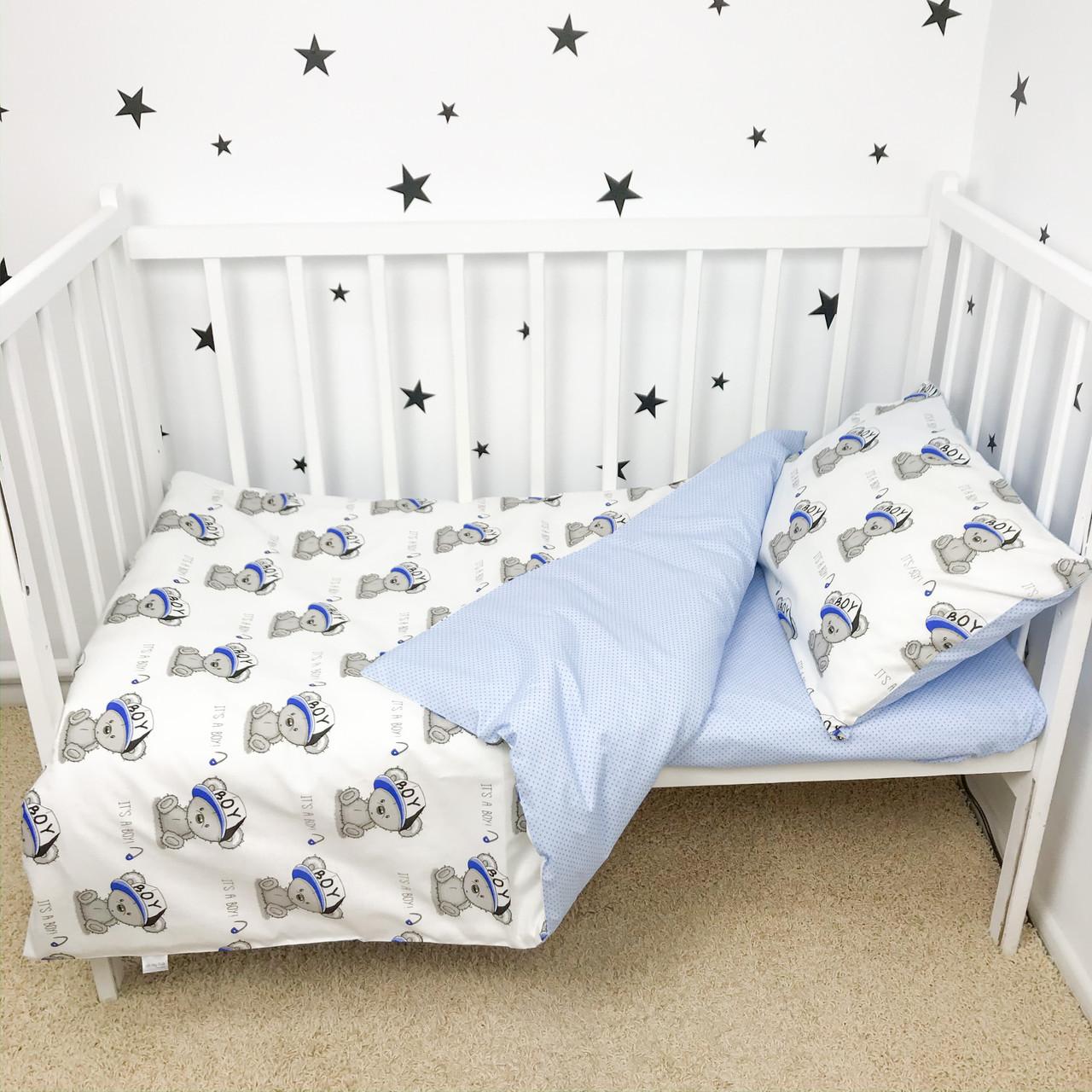 """Постельное белье в детскую кроватку """"Мишки в синих кепках"""" - Oh my kids"""