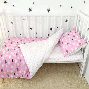 """Постельное белье в детскую кроватку """"Тучки и капельки розовые"""" - Oh my kids, фото 2"""