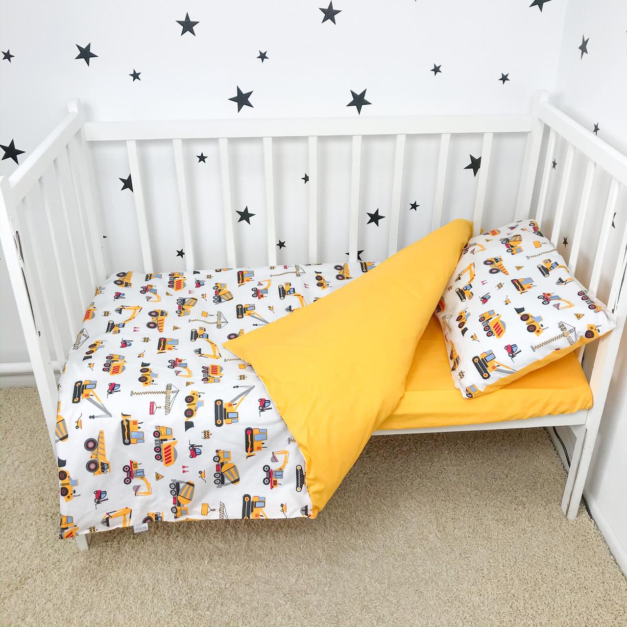 """Постельное белье в детскую кроватку """"Строительные машинки"""" - Oh my kids"""