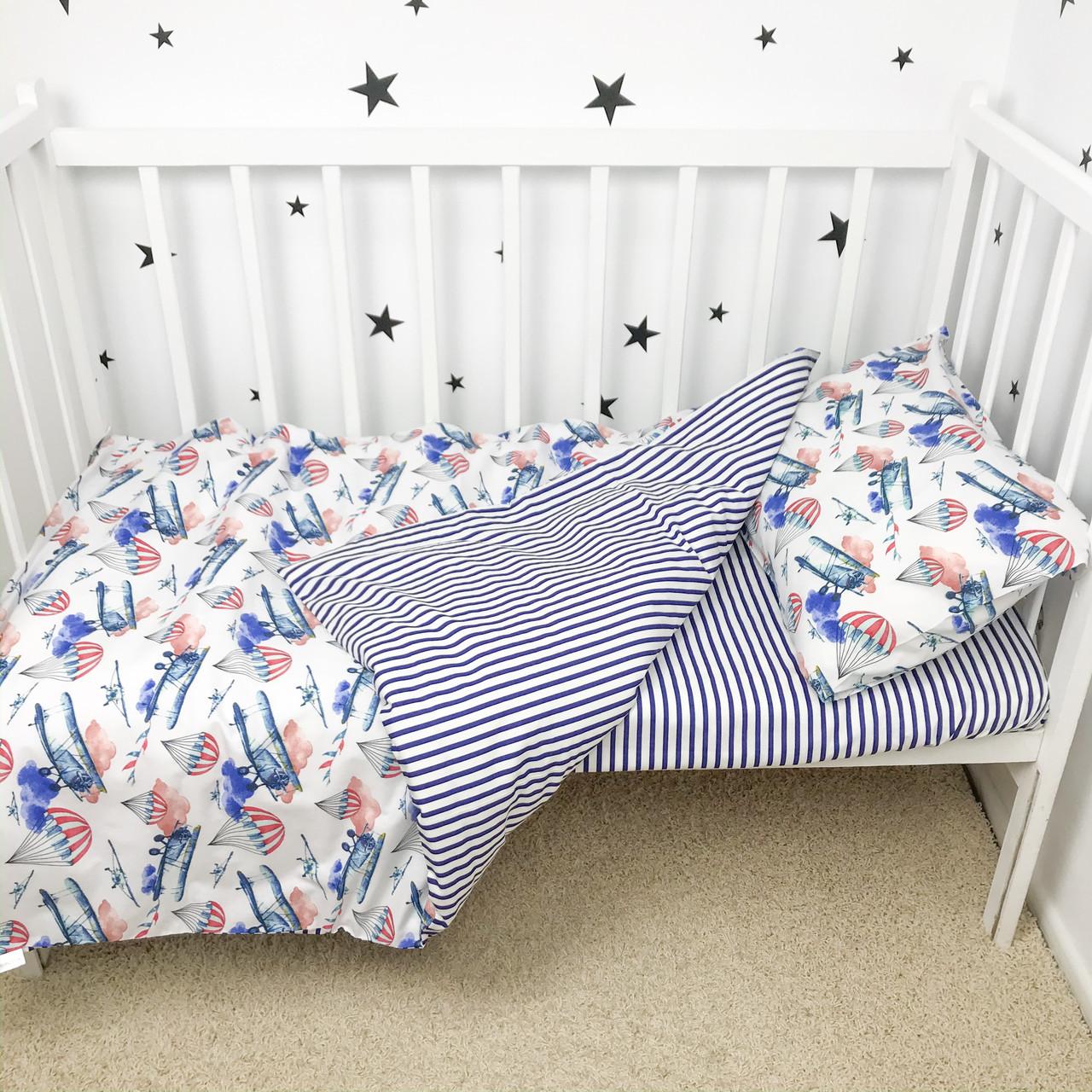 """Постельное белье в детскую кроватку """"Самолётики"""" - Oh my kids"""