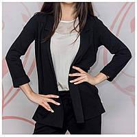 Пиджак женский удлиненный черный с рукавом 3/4, фото 1