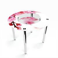 Стол обеденный на хромированных ножках Круглый с полкой Sakura