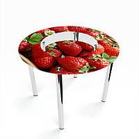 Стол обеденный на хромированных ножках Круглый с полкой Strawberry