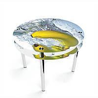 Стол обеденный на хромированных ножках Круглый с проходящей полкой Banana