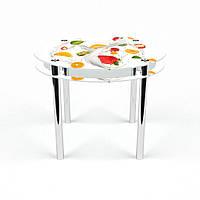 Стол обеденный на хромированных ножках Круглый с проходящей полкой Milkshake
