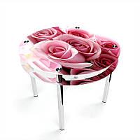 Стол обеденный на хромированных ножках Круглый с проходящей полкой Pink Roses