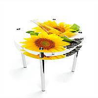 Стол обеденный на хромированных ножках Круглый с проходящей полкой Sunflower