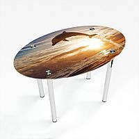 Стол обеденный на хромированных ножках Овальный Sunset