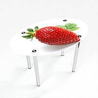 Стол обеденный на хромированных ножках Овальный Sweet berry