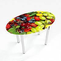 Стол обеденный на хромированных ножках Овальный Wood berry