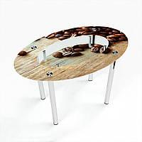 Стол обеденный на хромированных ножках Овальный с полкой Coffee