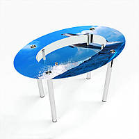 Стол обеденный на хромированных ножках Овальный с полкой Dolphin