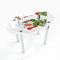 Стол обеденный на хромированных ножках Овальный с полкой Fruit&Milk