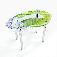 Стол обеденный на хромированных ножках Овальный с полкой Ice lime