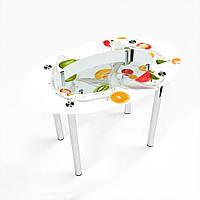 Стол обеденный на хромированных ножках Овальный с полкой Milkshake