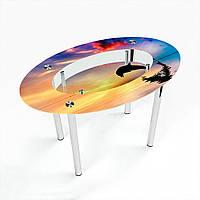 Стол обеденный на хромированных ножках Овальный с полкой Ocean