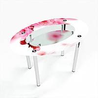 Стол обеденный на хромированных ножках Овальный с полкой Sakura