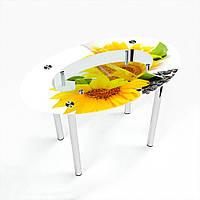 Стол обеденный на хромированных ножках Овальный с полкой Sunflower