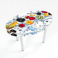 Стол обеденный на хромированных ножках Овальный с проходящей полкой Berry Mix
