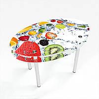 Стол обеденный на хромированных ножках Овальный с проходящей полкой Fruit Shake