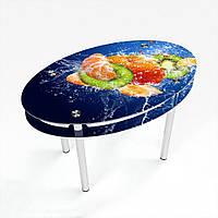 Стол обеденный на хромированных ножках Овальный с проходящей полкой Sweet Mix