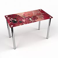 Стол обеденный на хромированных ножках Прямоугольный Fiori rossi